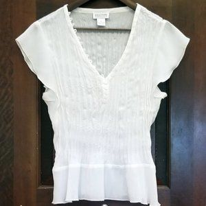 White Semi-Sheer Blouse with Ruffled Collar